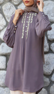 Shaza Embroidered Formal Modest Tunic - Mocha - PREORDER