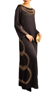 Shine Formal Modest Maxi Dress Kaftan - Black