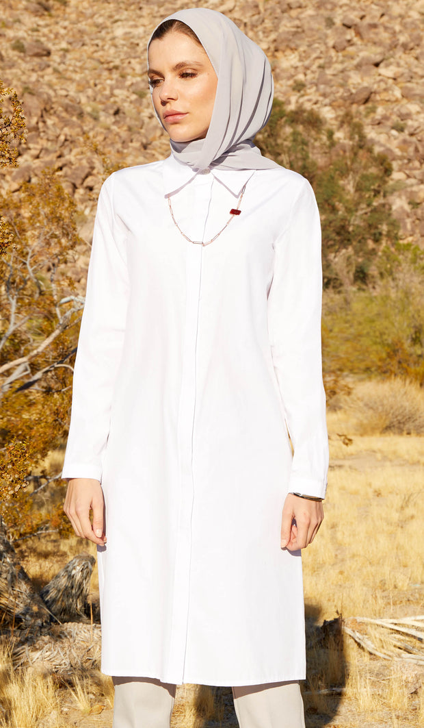 Shireen Longline Collar Buttondown Dress Shirt - White