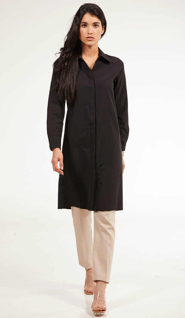Shireen Longline Collar Buttondown Dress Shirt - Black