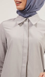 Shireen Longline Collar Buttondown Dress Shirt - Gray