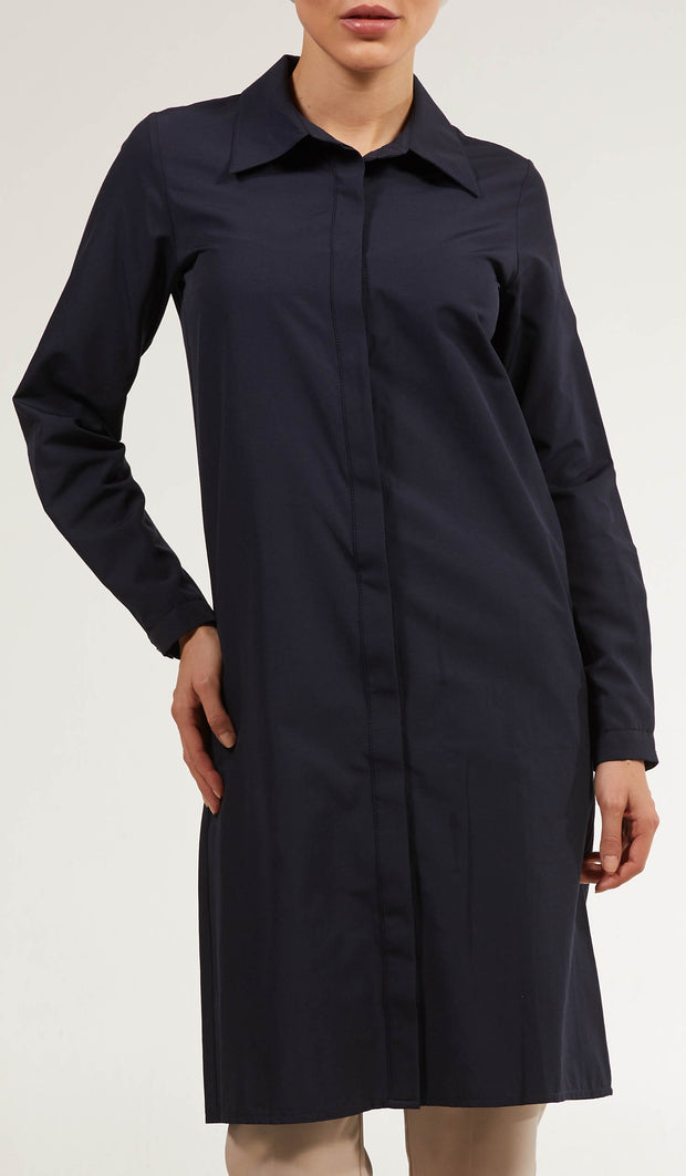 Shireen Longline Collar Buttondown Dress Shirt - Navy