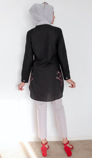 Sidra Embroidered Cotton Modest Tunic - Black - PREORDER