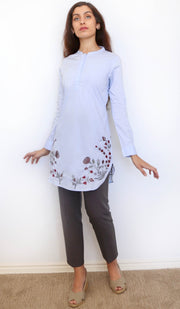 Sidra Embroidered Cotton Modest Tunic - Powder Blue