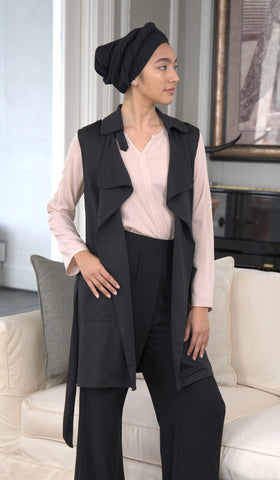 Silva Long Stretch Trench Duster Vest - Black