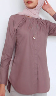 Sima Everyday Mostly Cotton Top - Mauve