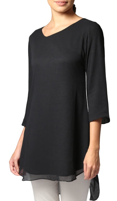 Simin Chiffon Long Modest Tunic - Black