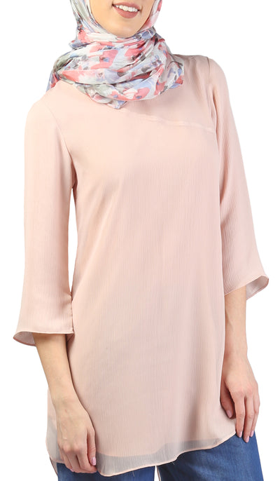 Simin Chiffon Long Modest Tunic - Blush Pink