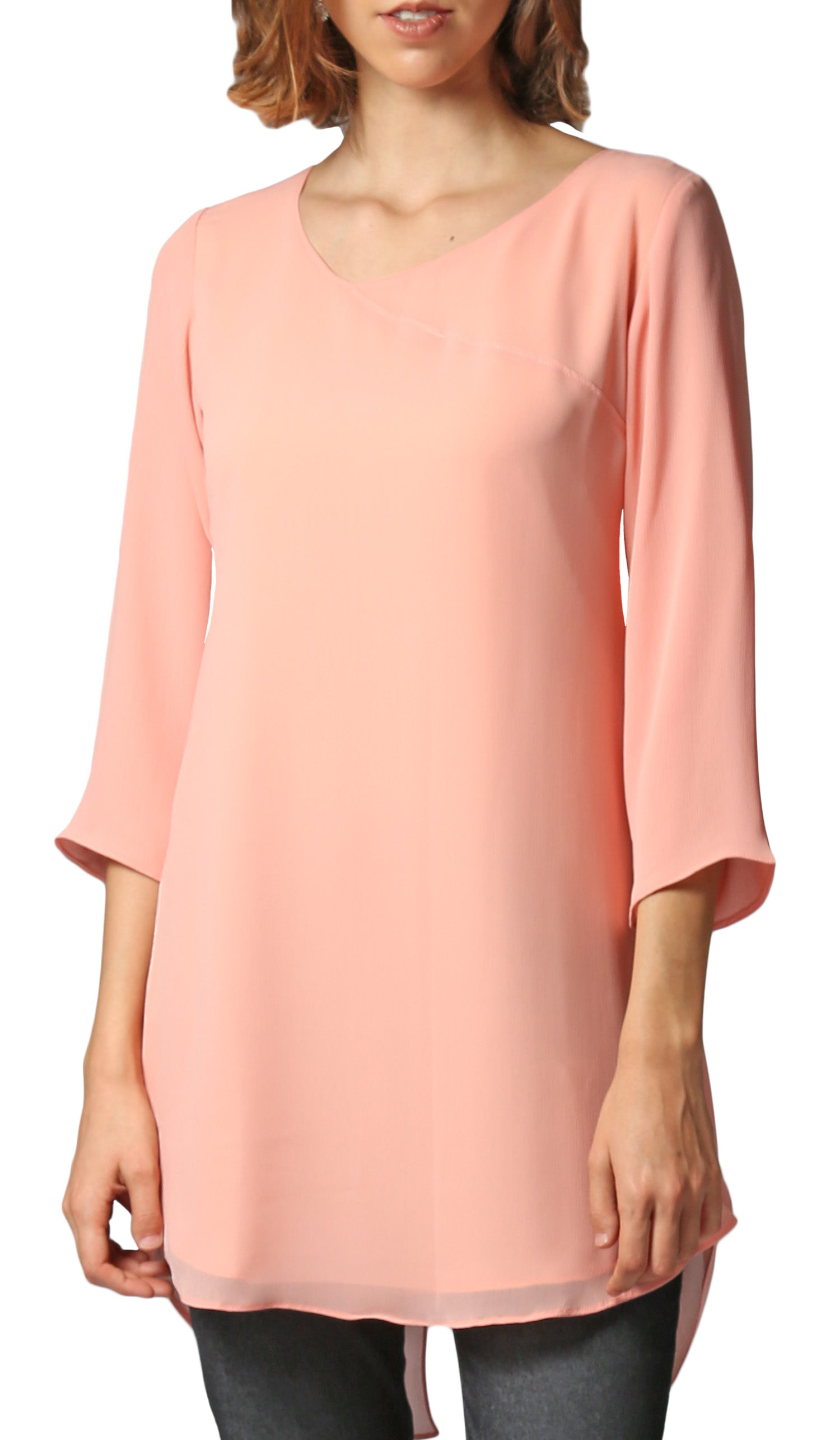 Simin Chiffon Long Modest Tunic - Peach Pink