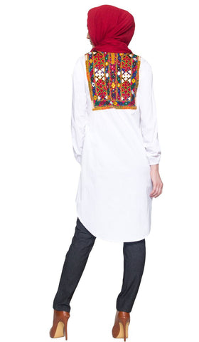 Sitara Hand Embroidered Long Modest Muslim Tunic - White