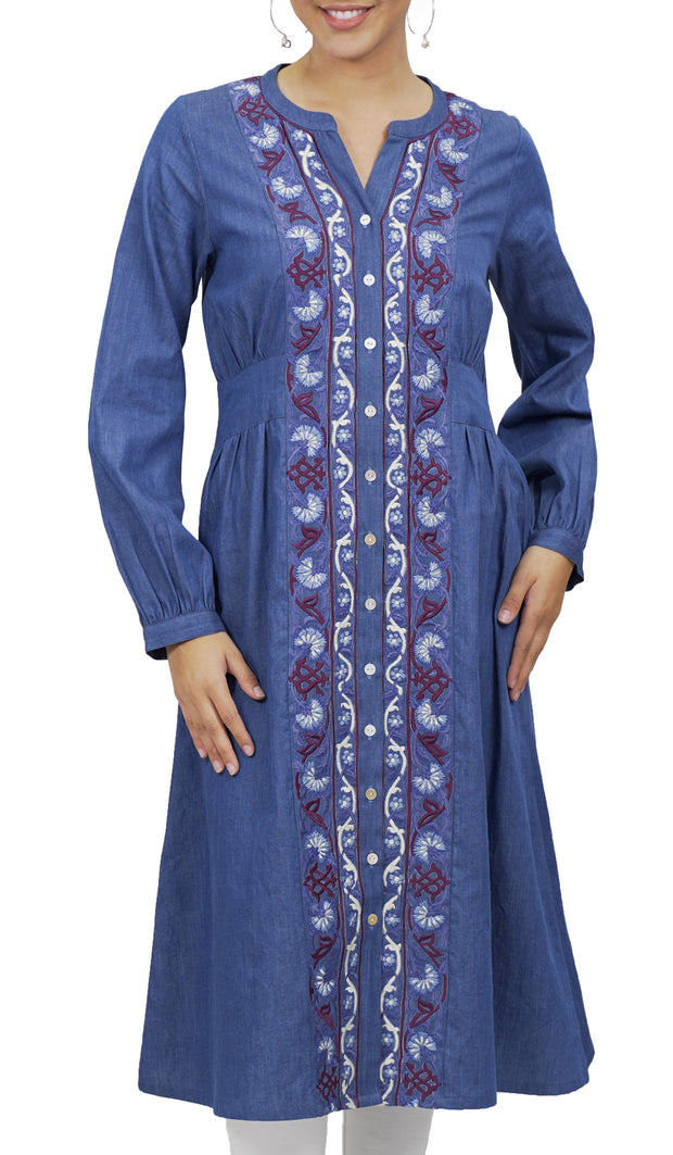 Sitara Long Embroidered Denim Modest Midi Dress - Blue