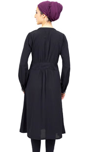 Sitara Long Embroidered Modest Midi Dress - Black