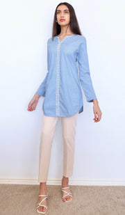 Sobia Embroidered Cotton Modest Tunic - French Blue