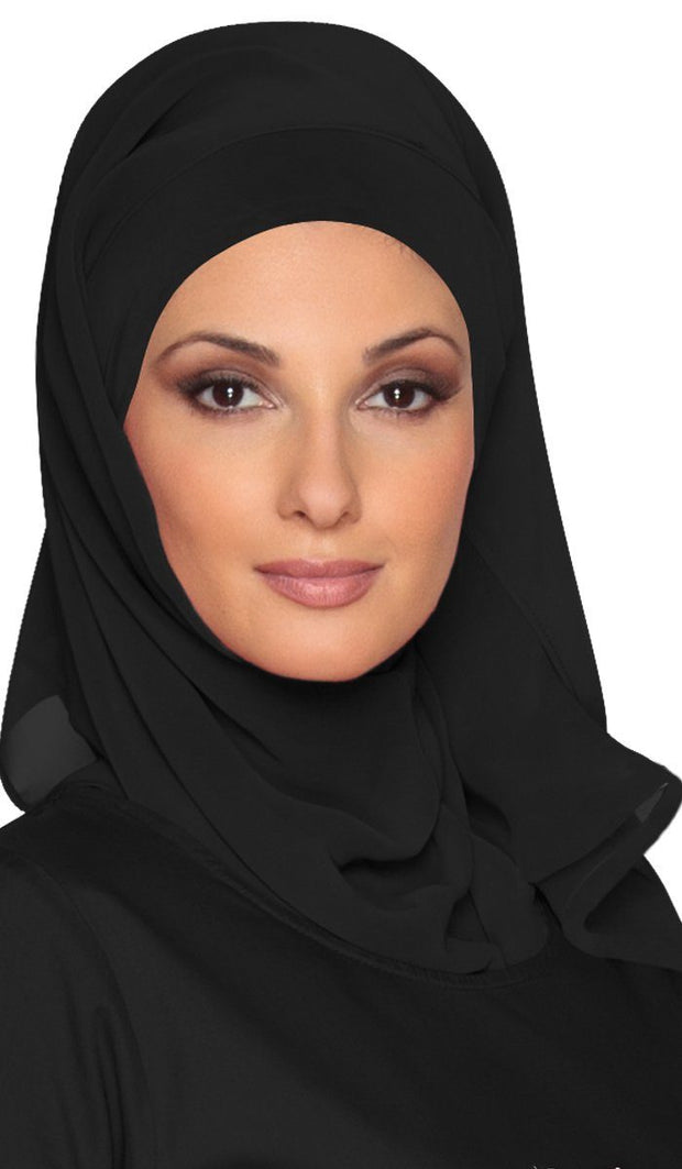 Soft Chiffon Oblong Wrap Hijab - Black