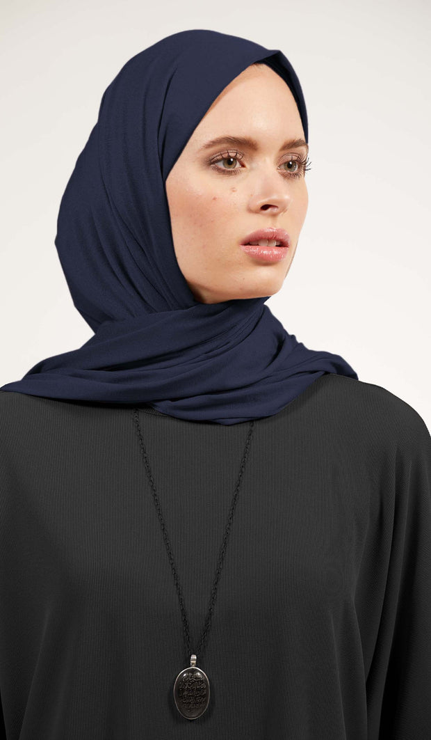 Soft Everyday Jersey Wrap Hijab - Navy Blue