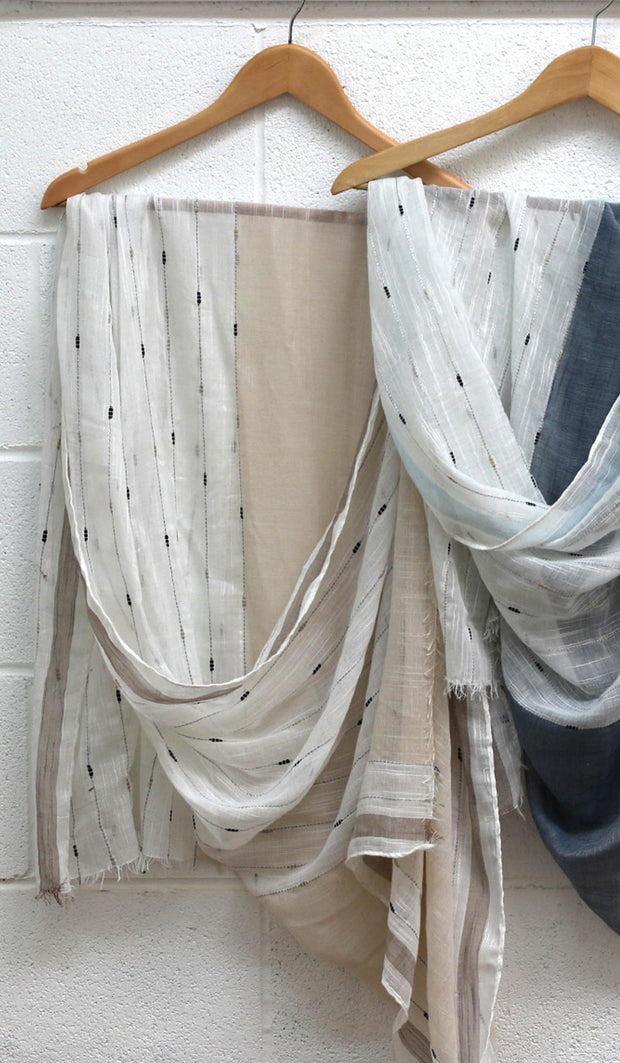 Soft Non slip Striped Wrap Hijab- Beige and Off white