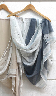 Soft Non slip Striped Wrap Hijab- Denim Blue and Off white