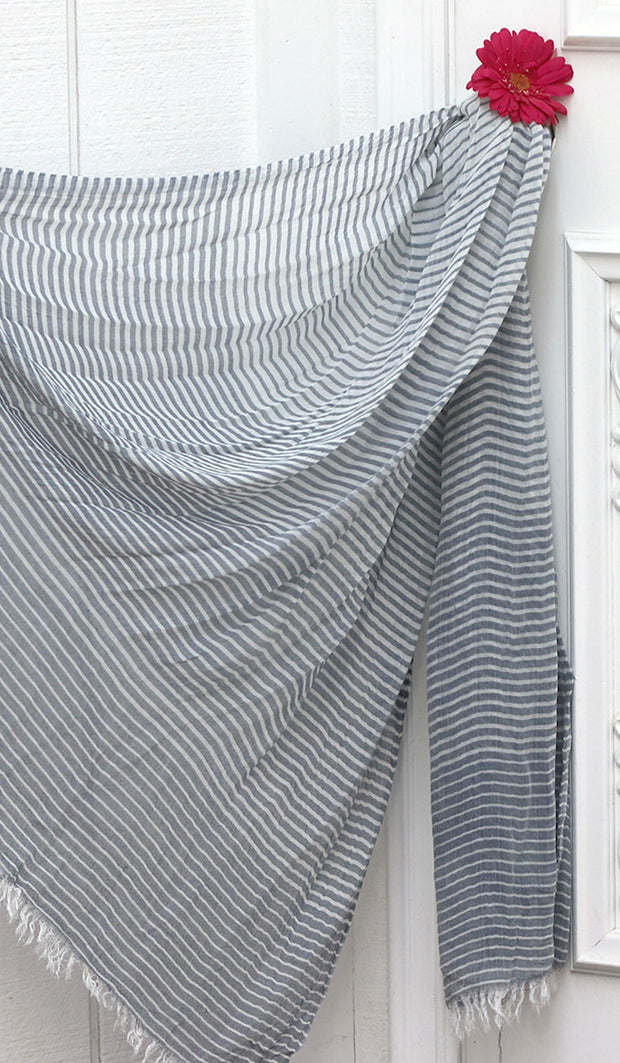 Soft Non slip Striped Wrap Hijab- Denim Blue and White