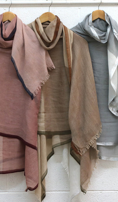 Soft Non slip Wrap Hijab - Beige, Brown and Olive
