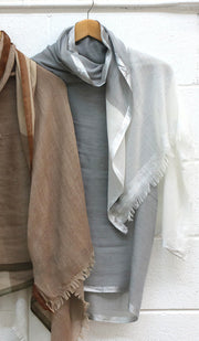 Soft Non slip Wrap Hijab- White Gray and Silver
