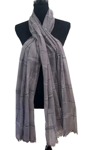 Soft Light Non slip Checkered Wrap Hijab Scarf - Gray White Black