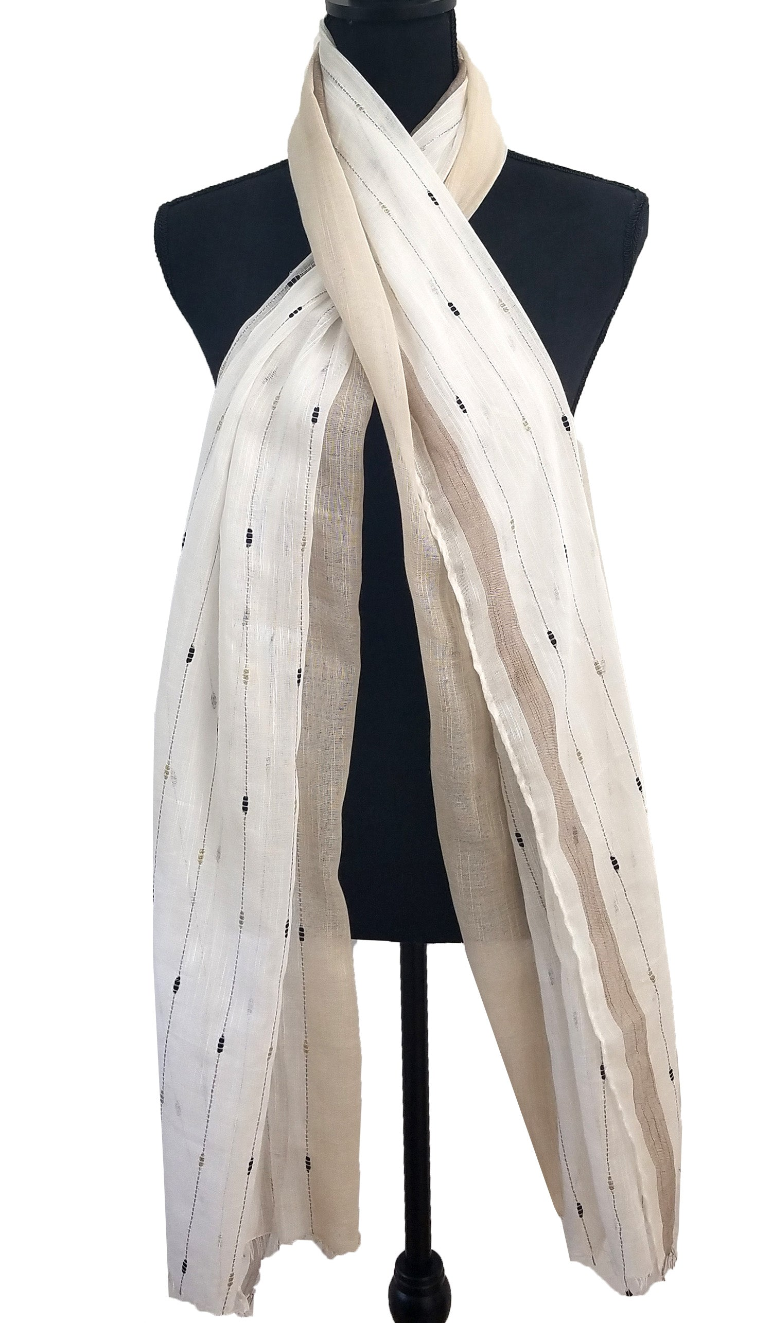 Soft Non slip Striped Wrap Hijab Scarf- Beige and Off white