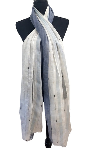 Soft Non slip Striped Wrap Hijab Scarf- Denim Blue and Off white