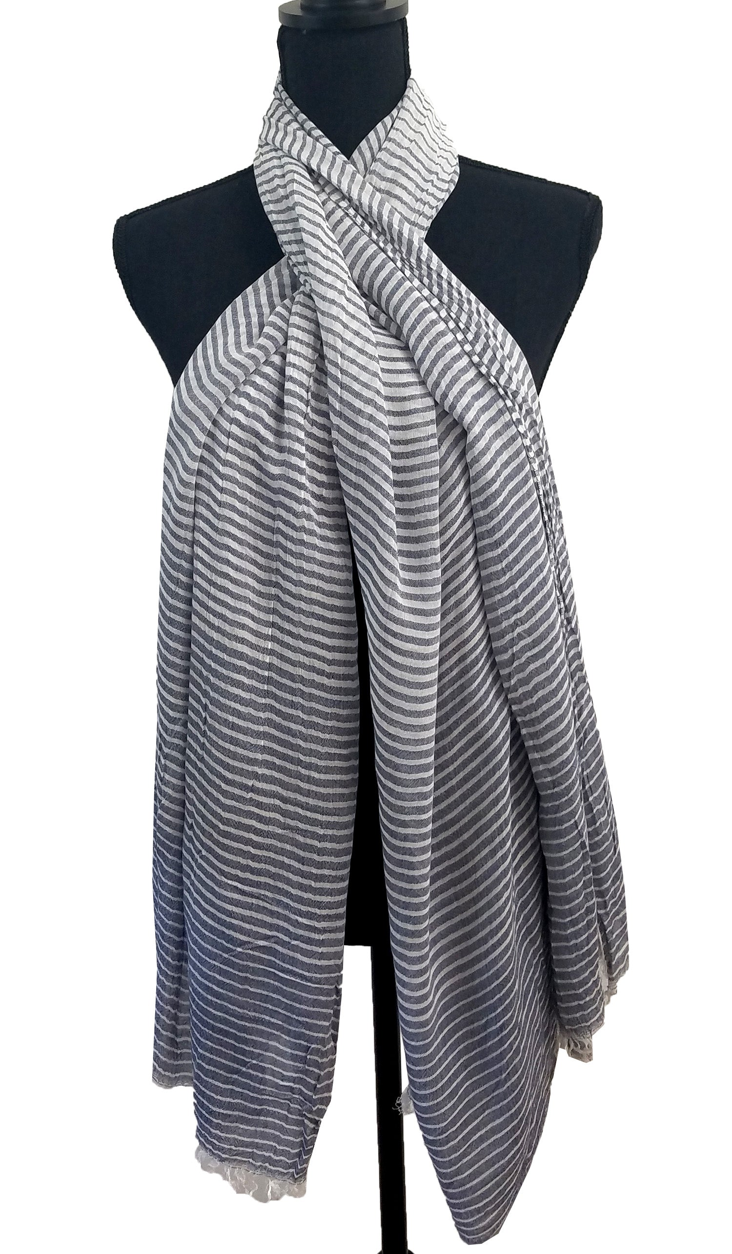 Soft Non slip Striped Wrap Hijab Scarf- Denim Blue and White