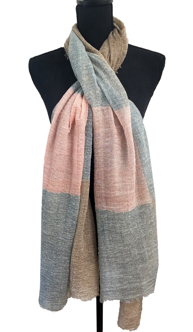 Soft Non slip Textured Wrap Hijab Scarf - Dusty Pink Blue and Beige