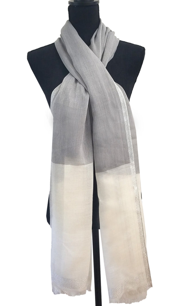 Soft Non slip Wrap Hijab Scarf- White Gray and Silver