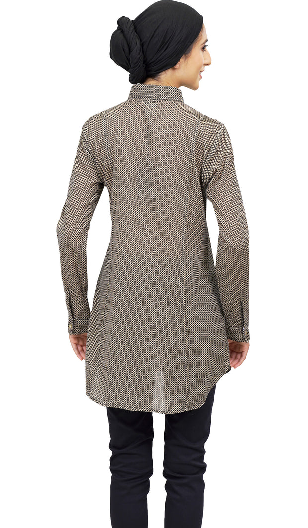 Sonia Long Printed Cotton Buttondown Dress Shirt - Mocha  Black
