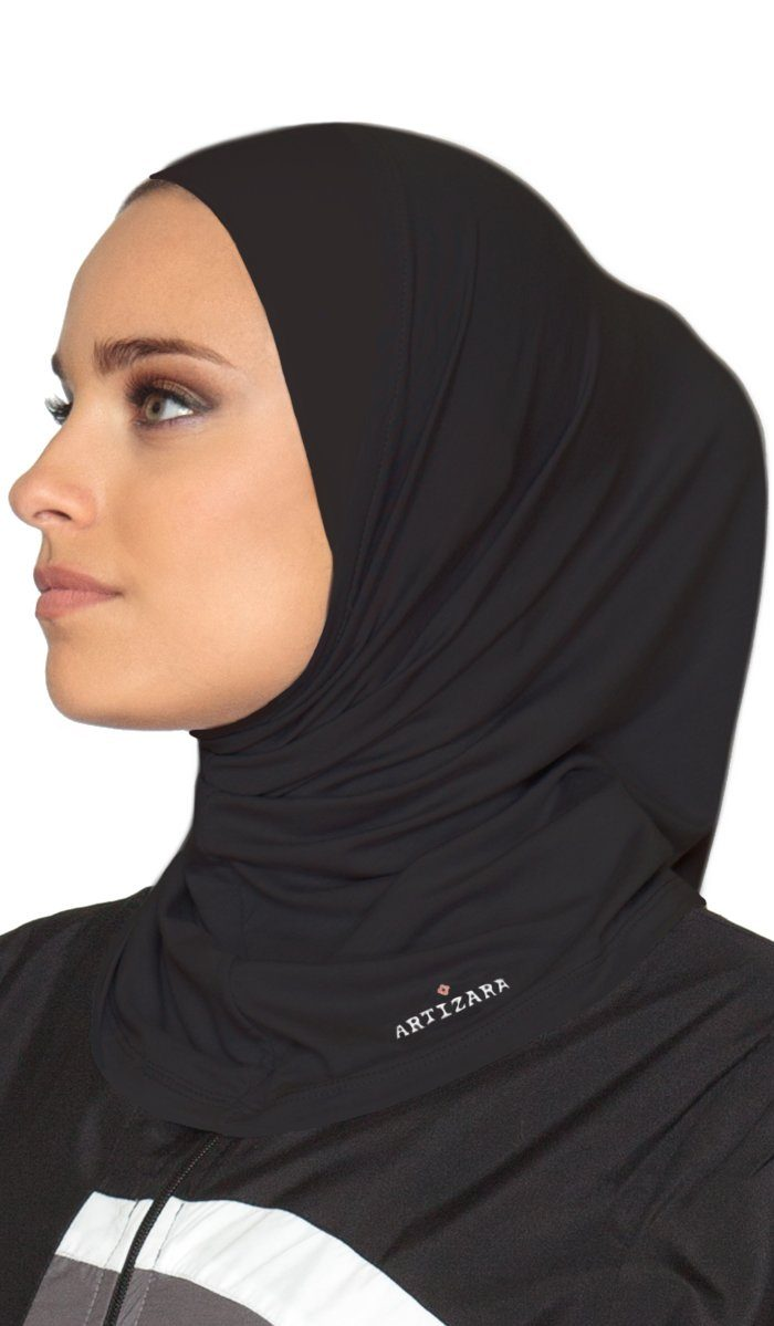 One Piece Stretch Sports Hijab - Black - ARTIZARA.COM