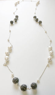 Sterling Silver and Freshwater Pearl Long Necklace - Gray and White