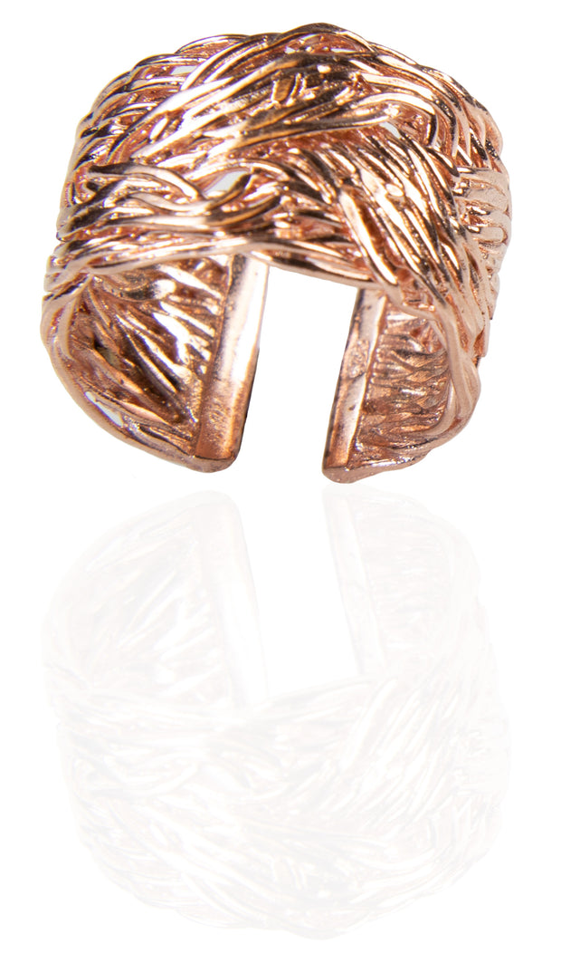 Sterling Silver Braided Kun Fayakun Band Ring- Rose Gold