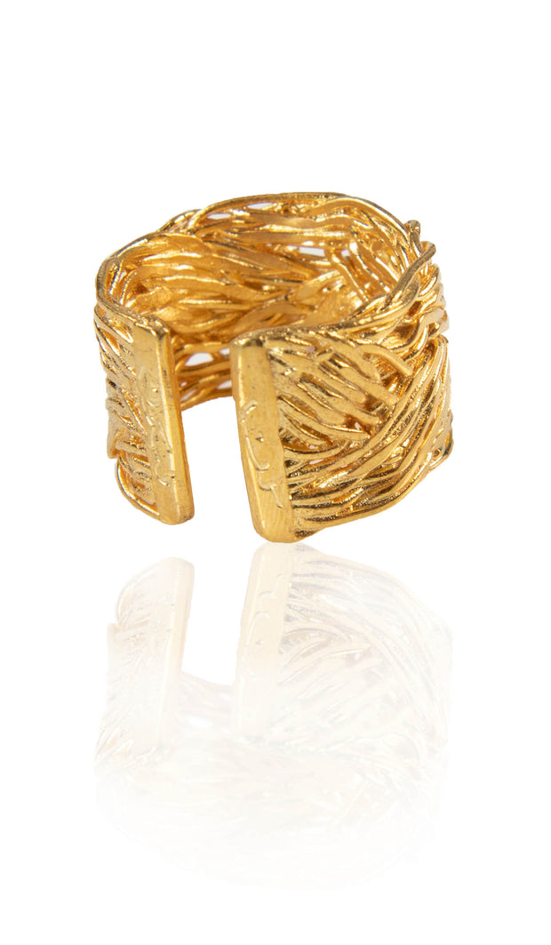 Sterling Silver Braided Kun Fayakun Band Ring- Gold