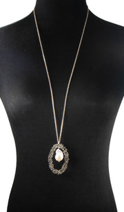 Sterling Silver and Baroque Pearl Evil Eye Necklace