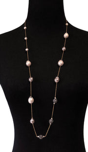 Goldplated Sterling Silver and Baroque Pearl Long Necklace - Gray, White