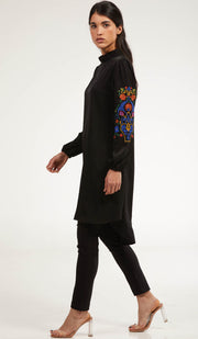 Subhi Embroidered Long Modest Tunic - Black