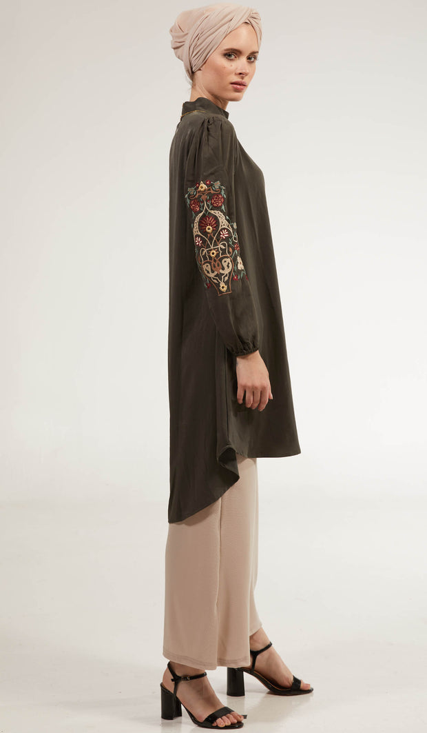 Subhi Embroidered Long Modest Tunic - Sage