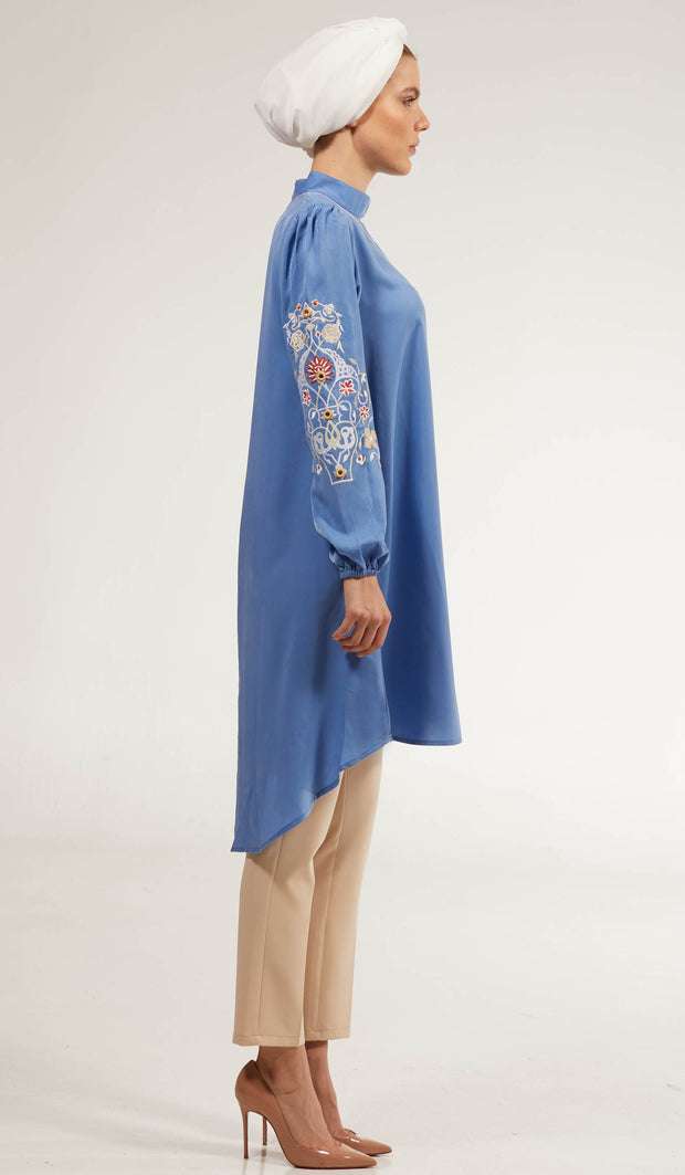 Subhi Embroidered Long Modest Tunic - Sky Blue