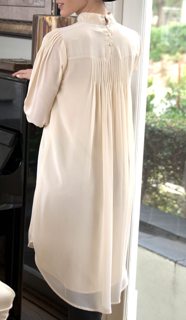 Sukoon Long Flowy Chiffon Midi Dress - Off White
