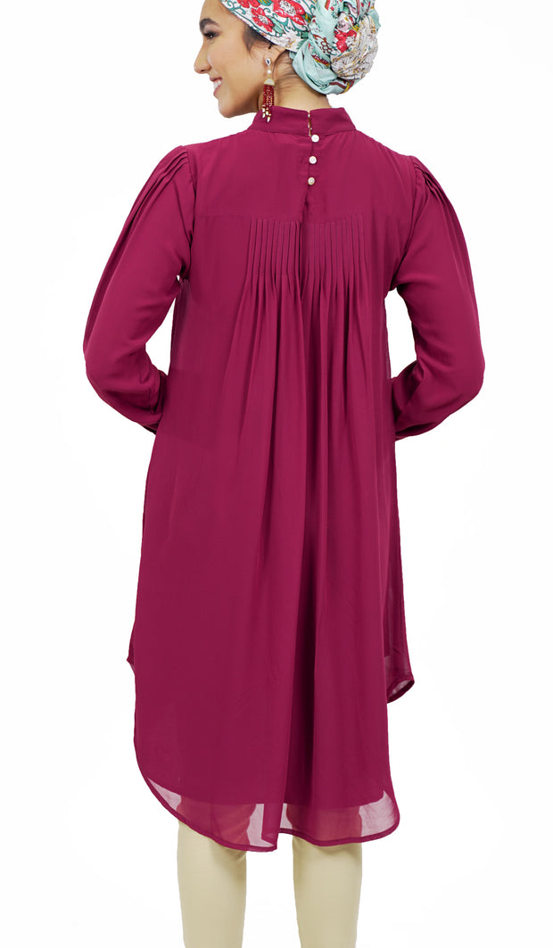 Sukoon Long Flowy Chiffon Midi Dress - Maroon