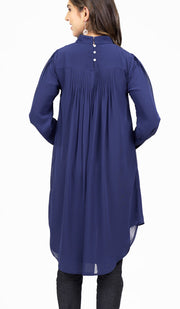 Sukoon Long Flowy Chiffon Midi Dress - Navy Blue