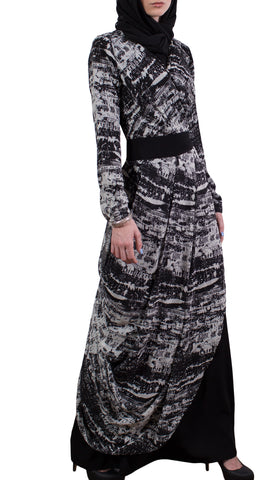 Sumaira Marble Print Chiffon Maxi Abaya Dress - Black & White