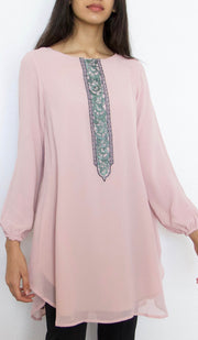 Suroor Embroidered Long Modest Tunic - Dusty Rose - PREORDER