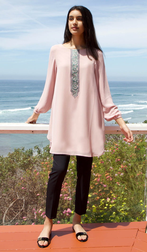 Suroor Embroidered Long Modest Tunic - Dusty Rose