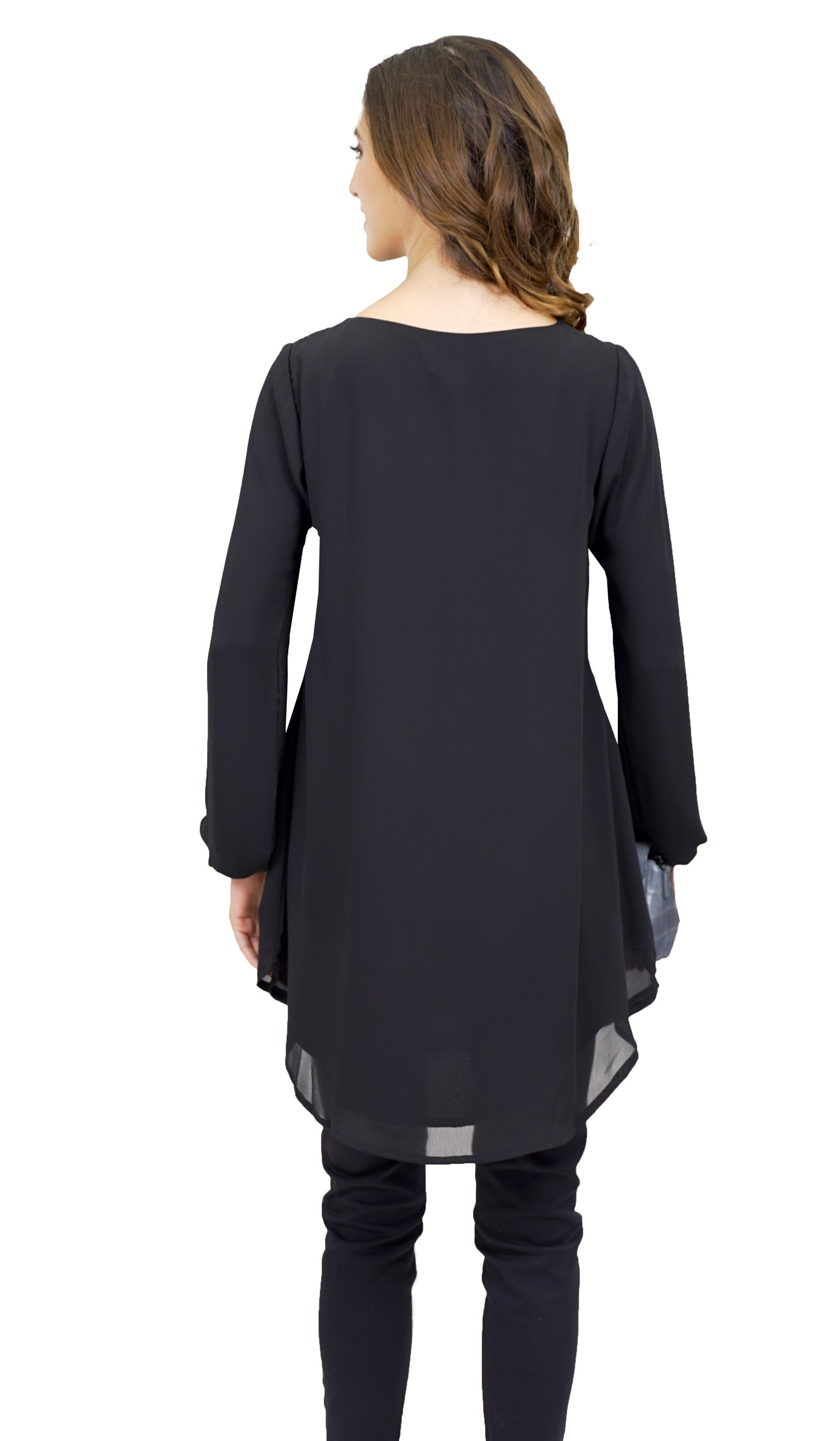 Suroor Embroidered Long Modest Tunic - Black
