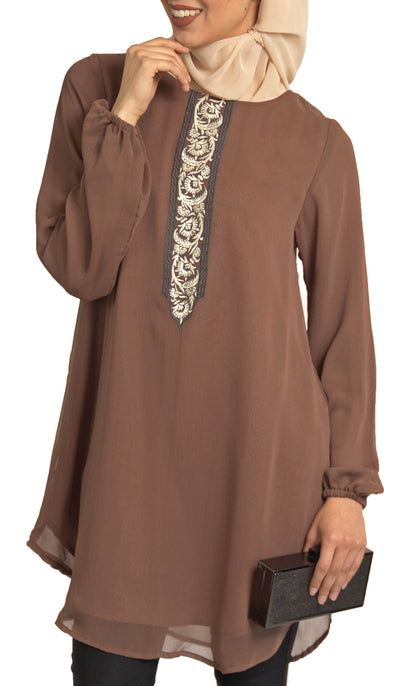 Suroor Embroidered Long Modest Tunic - Cocoa