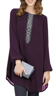 Suroor Embroidered Long Modest Tunic - Dark Purple