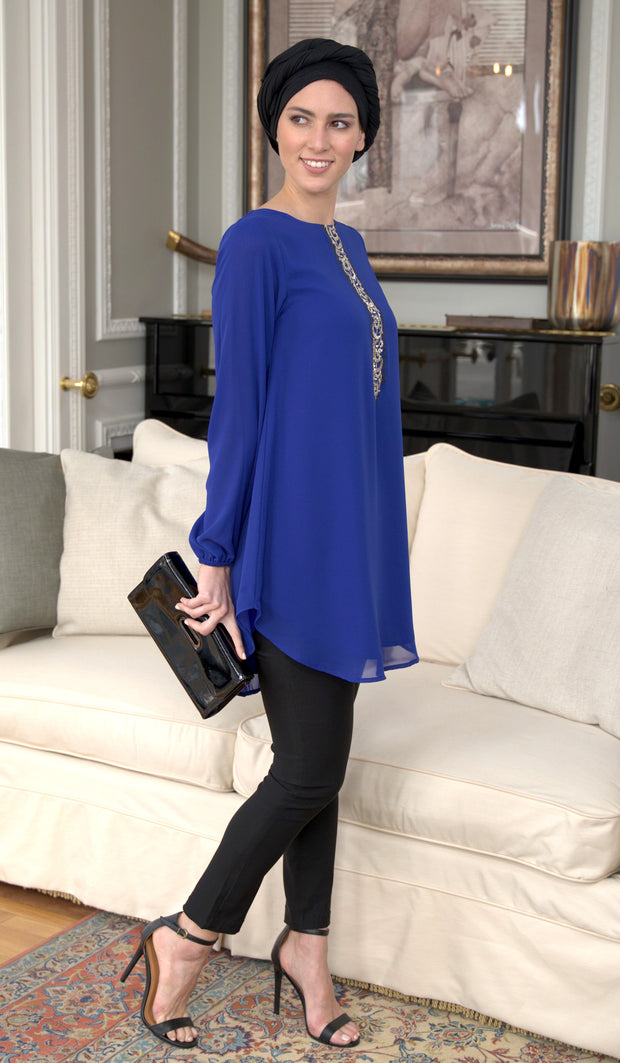 Suroor Embroidered Long Modest Tunic - Royal Blue